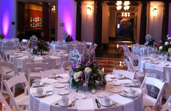 Eli Lilly Hall decorated for wedding